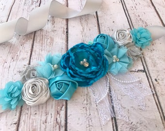 Blue Turquoise Bridal Photography Maternity Sash Boy Sash Photo Prop Baby Shower Gender Reveal Party Gift