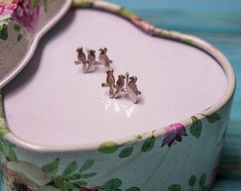 Silver earrings Birds on a branch - stud sterling earrings made from 925 silver