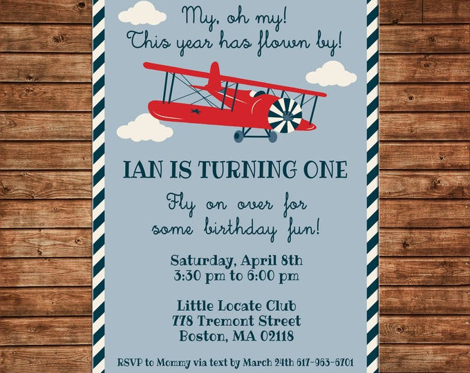 Boy Invitation Vintage Plane Airplane Baby Shower Birthday Party - Can personalize colors /wording - Printable File or Printed Cards