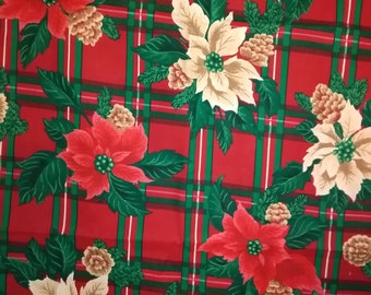 Red and White Poinsettia Fabric