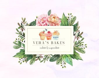 Hand-painted Watercolor Floral Vintage Cupcake Pre-made Logo Design in pastel colors