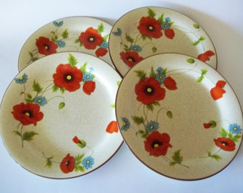 Mikasa Poppy Parade Dinner Plates Red Poppies Floral Stylemanor Line Set of 4 Japan 1970s & Mikasa dinner plates   Etsy