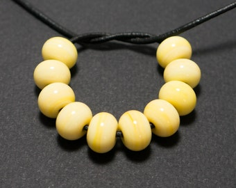 Spacer beads set, Yellow lampwork spacer beads, Lampwork beads, Yellow glass spacer, Lampwork spacer