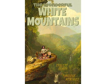 White Mountains New Hampshire Maine Travel Poster Picnic Goldendoodle Pin Up Art Print 337