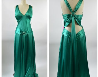 Vintage 90s Dave and Johnny Emerald Green Evening Gown Size Large Looks Like Silk Satin Adjustable Halter Butt Cleavage Drop Waist