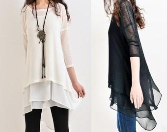 SALE Moroccan breeze - zen layered tunic dress / idea2lifestyle boho tunic / dress light cotton dress+ sleeveless flowing tunic(Q5110)