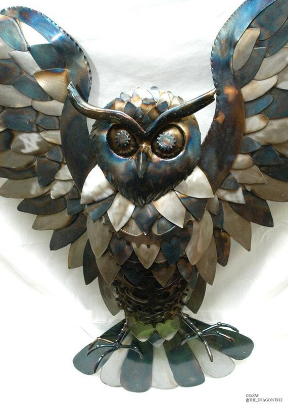 The Watcher, Steampunk Great Owl Wall Piece, 2017