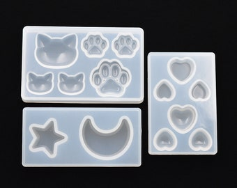 lovely Cat bear paw heart moon star Silicone Mold Resin Silicone Mould handmade DIY Jewelry Making epoxy resin molds