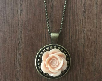 Peach Rose Pendant and Necklace