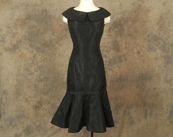 vintage 50s Dress - Black Taffeta Party Dress - 1950s Formal Cocktail Dress - Mermaid Hem Wiggle Dress XS S
