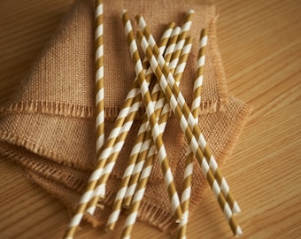 Gold Straws.  Gold Paper Straws.  Handcrafted in 2-5 Business Days.  Striped Straws.  Party Straws 10CT.