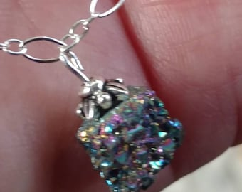 Tiny charcoal colored druzy crystal on delicate Sterling silver chain