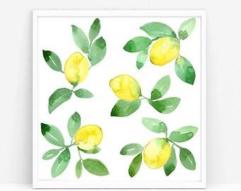 Watercolor Lemons Painting, original art, yellow lemons, fruit painting, fruit art, home decor, kitchen decor, kitchen art, fine art, 8x8