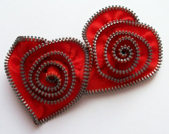 Red Spiral Valentine Heart Zipper Brooch by ZipPinning - 2460
