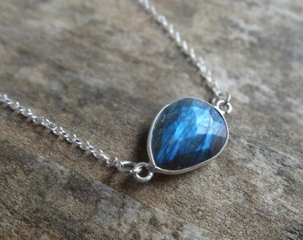 "Fiery LABRADORITE Sterling silver Necklace - 19"" Sterling 925 Chain - Natural Stone Labradorite Necklace  Natural stone Dainty necklace"