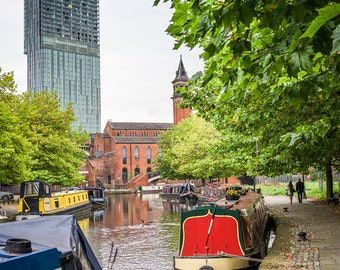 Manchester from the Rochdale Canal, Castlefield, UK City Photographic Print - Beetham Tower, Narrow Boats, Bridgewater Canal