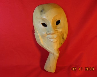 One (1), Vintage, Hand Carved, Wooden, Face in Hand Mask. Free Standing.