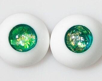 READY to SHIP! 12mm handmade urethane resin BJD green mica fantasy eyes
