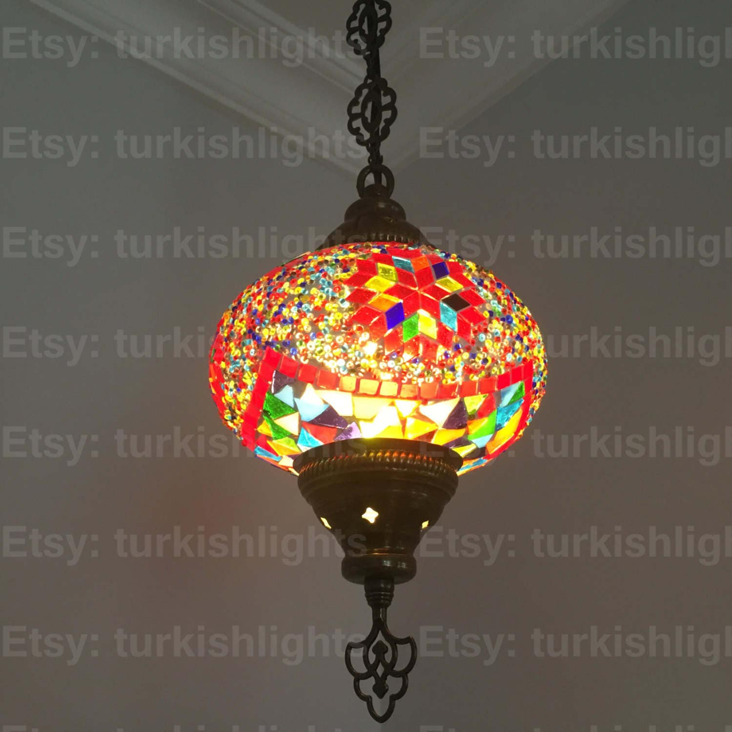 Turkish Mosaic Single Hanging Lamp Globe Turkish