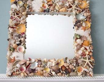 Seashell Mirror, Beach Decor Shell Mirror, Nautical Decor Seashell Wall Mirror, Shell Wall Mirror, Coastal Decor, Beach House Decor  #CSM18