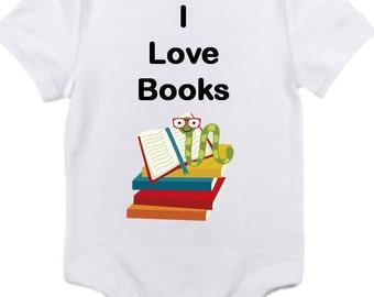 ON SALE I love books Gerber onesie you pick size newborn / 0-3 / 3-6 / 6-12 / 18 / month