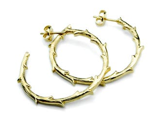Branch Hoops Earrings – Gold Plated Silver Hoops Branch Botanical Greek Earrings the Perfect Gold Hoop Earrings Gift