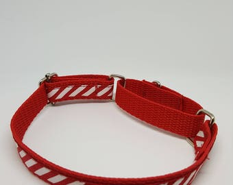 Slim Martingale Collar with Candy cane style design