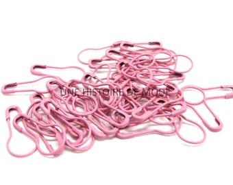 40 round safety pins pink 20 mm x 10 mm