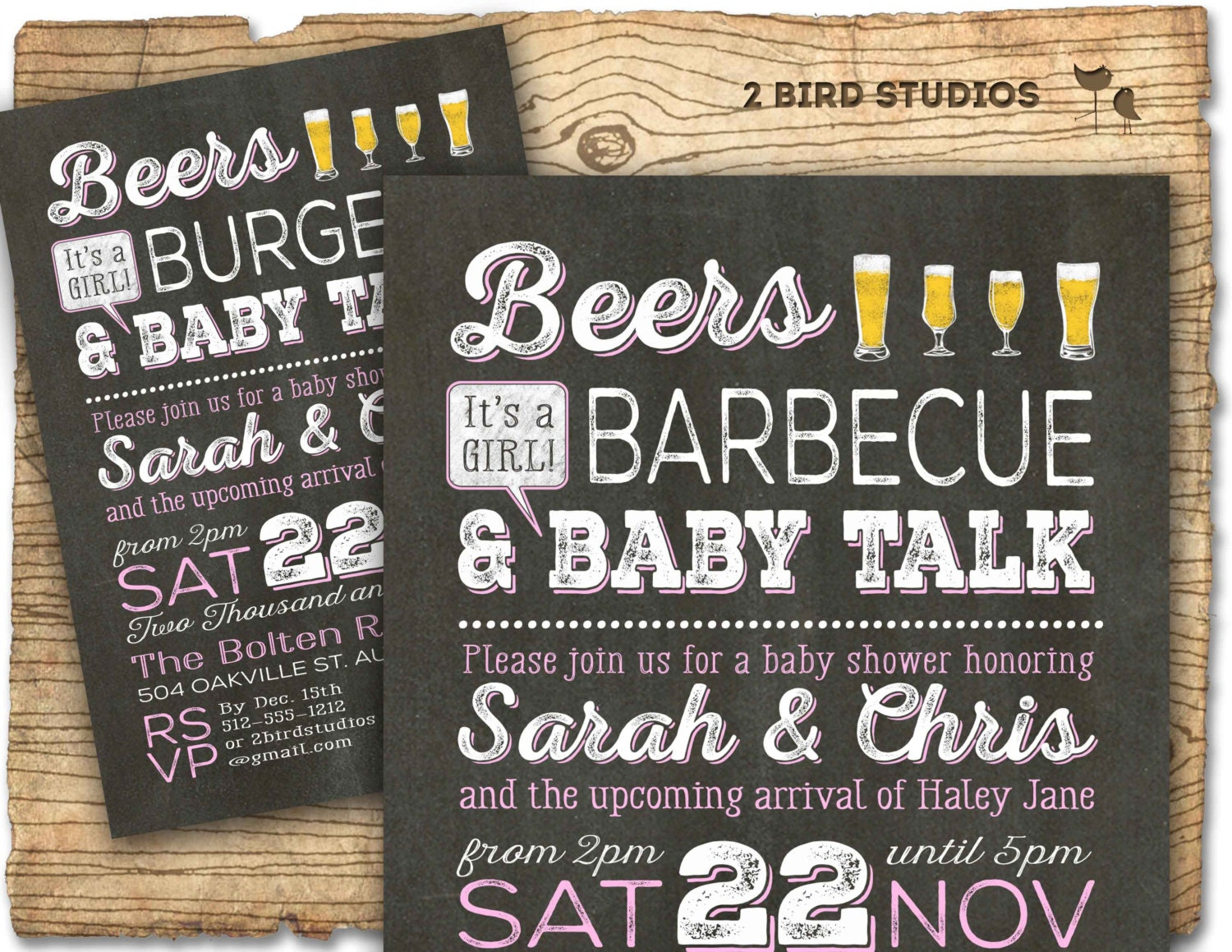 Beer BBQ baby shower invitation Coed baby shower invitation