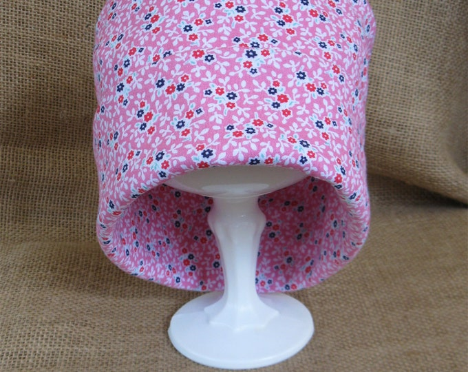 Pink Flower Chemo Hat for Cancer Patients 100 Percent Soft Cotton Floral Chemo Cap Chemo Headwear