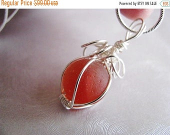 Mothers Day Sale Sea Glass Marble Pendant - Rare Orange Red Melon Coral - Sea Glass Pendant - Beach Glass Jewelry