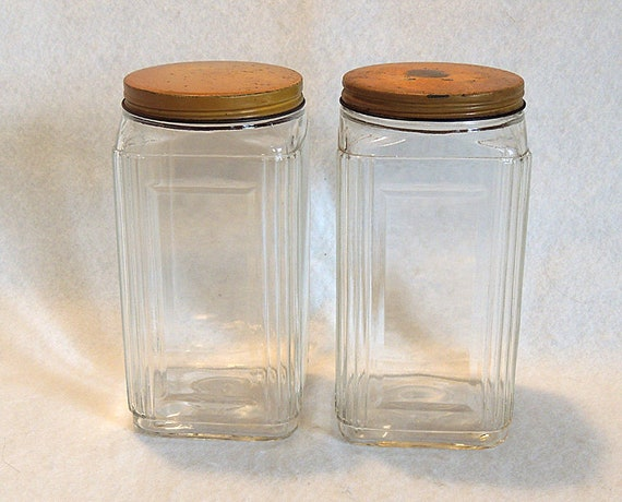 2 Original 1930s Art Deco Hoosier Glass Square Canister Jars HAZEL ATLAS W Lids