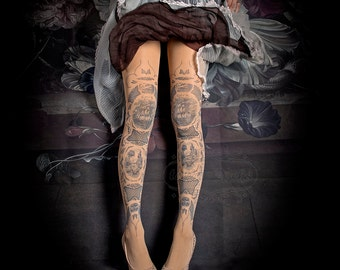 Tattoo Tights -  China Doll one size nude full length printed tights, pantyhose, nylons by tattoosocks