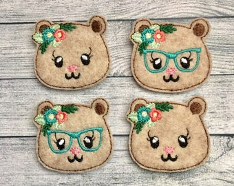 "4 woodland bear felties 1.75"" with or without glasses"