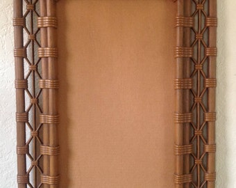 """1981~BURWOOD Products Co.~Faux Bamboo~Wicker Picture~Mirror Frame~19"""" x 31""""~EVC"""