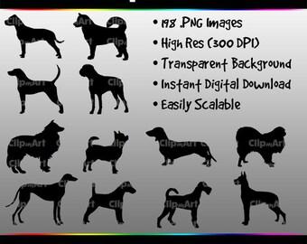 Dog Silhouettes, Dog Clip Art, Dog Art, Labrador, Pomeranian, Golden Retriever, Bulldog, Unique Clip Art, Dog Breeds, Dog Clip Art Pack