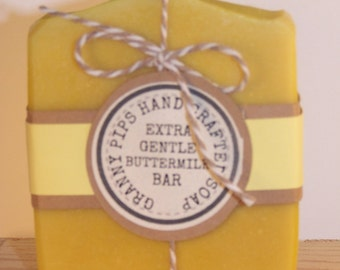 All Natural Buttermilk Hand Made Soap/Natural Lemon Essential oil Soap/ mothers day gift