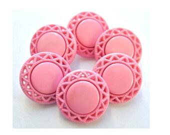 Vintage, 6 plastic buttons, 21mm,  flower  shape, pink