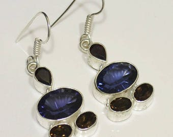 "Sterling Silver Iolite Earrings, Silver Earrings, Iolite Earrings, Smoky Quartz Earrings .925 Sterling Silver Earrings 1.9""x0.6"" (With Hook)"