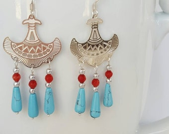 Chalk Turquoise Teardrop and Aztec Link Dangle Earrings