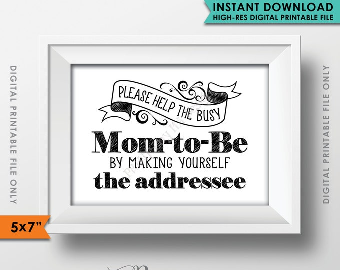 "Baby Shower Address Envelope Sign, Help the Mom-to-Be Address an envelope, Thank You Envelope, Shower Decor, 5x7"" Printable Instant Download"