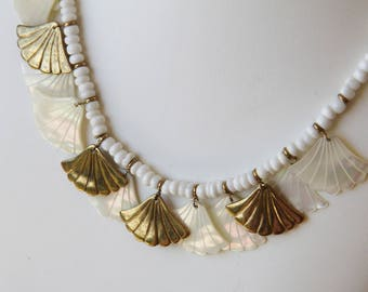 gold-plated and genuine Pearl bib necklace