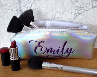 Personalised Holographic Makeup Brush Bag - Festival Essentials/Pencil Case, Makeup Bag