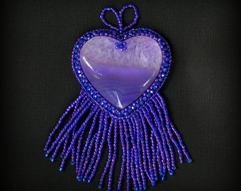 Purple Agate Heart large pendant bead embroidery statement pendant beautiful and unique jewelry handmade jewelry heart pendant for her