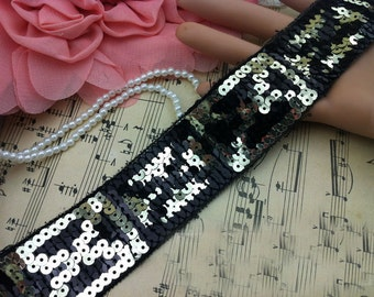 """10 yard 3.5cm 1.37"""" wide black sequins tapes braided lace trim ribbon md94kgr free ship"""