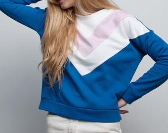 70s roller girl electric blue handmade sweatshirt