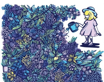 Flowers & Plants: Girl Watering Greens Illustration Art Print | Room Decor | Plant Love | Flower Drawing | Digital Art Print | Floral