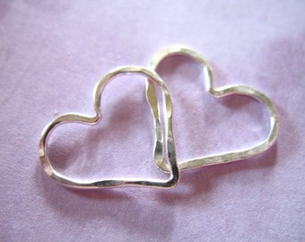 1-10 pcs, HEART Charm Pendant, Hammered Open Heart / Sterlling Silver or 14k Gold Fill, 15.5x14 mm, valentines love bridal weddings hht