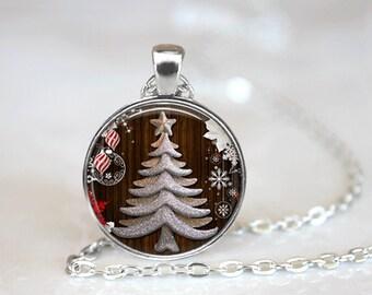 Christmas Necklace Christmas Jewelry Glass Tile Necklace Christmas Tree Glass Tile Jewelry Tree Jewelry Holiday Necklace Holiday Jewelry