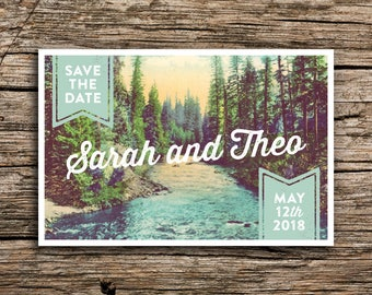 Northwest Pines Postcard Save the Date // Vintage Post Card Pine Trees River Mountain Wedding Oregon Washington Pacific Northwest
